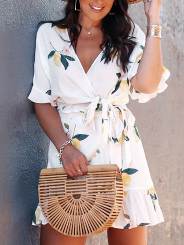 Casual Printed V-neck Loose Dress