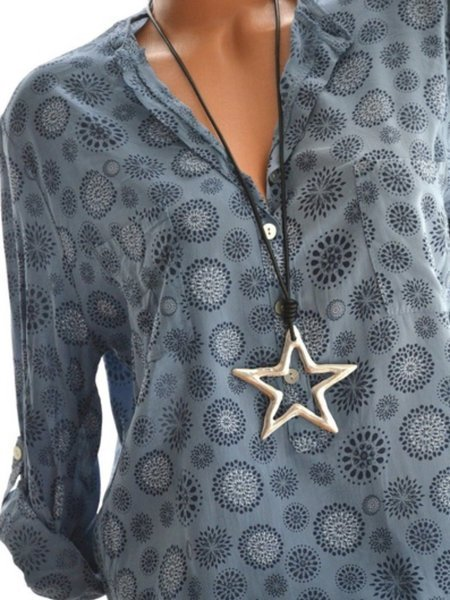 Plus Size Polka Dots Stand Collar Women Summer Blouses