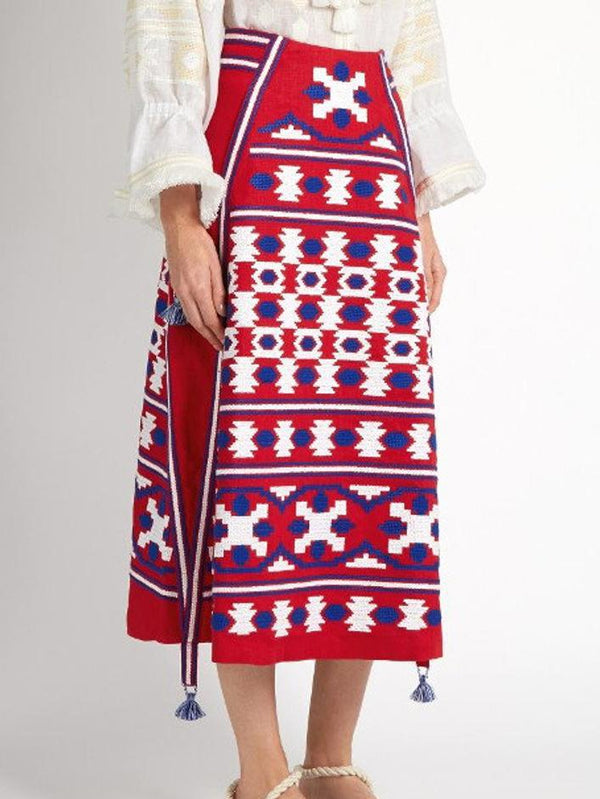 Red Cotton-Blend Boho Skirts