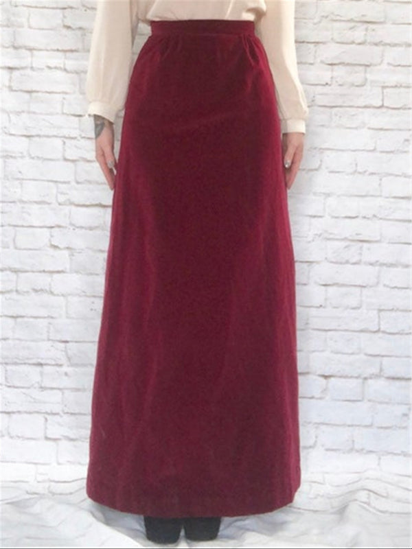 Casual Basic Daily Vintage Evening Party Velvet Suit Half Skirt