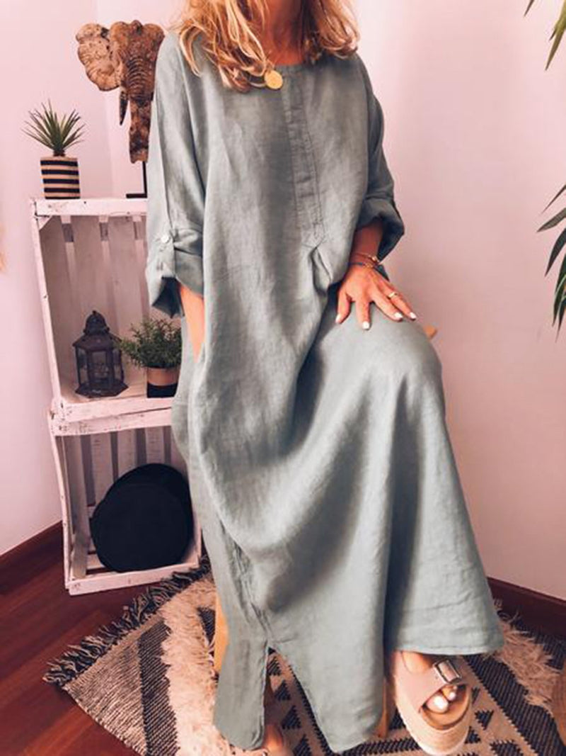Casual Long Sleeve Plain Dresses