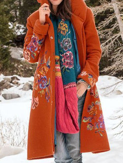 Caramel Floral Casual Long Sleeve Outerwear