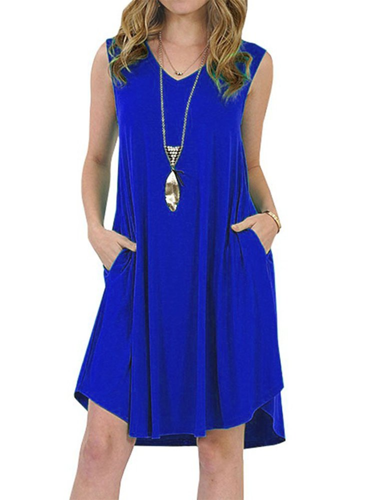 7 Colors/Plus Size  Summer Casual V-neck  Sleeveless T-Shirt Dress With Pockets