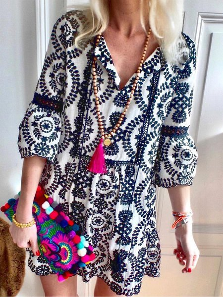 2019 Fashion Half Sleeves Boho Casual Shift Dresses