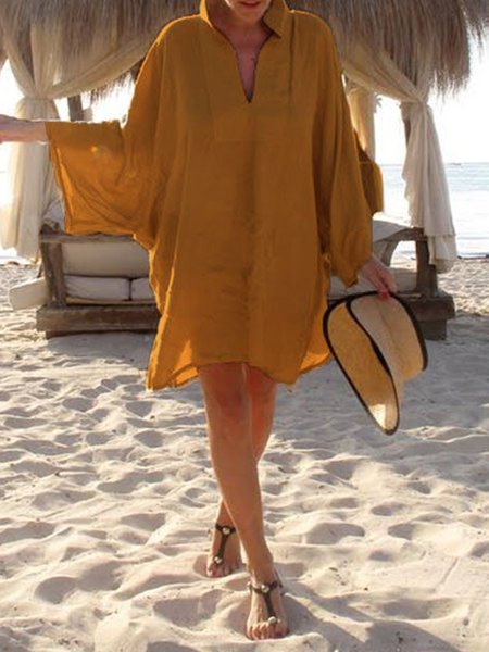 Long Sleeve Casual Shift Dresses