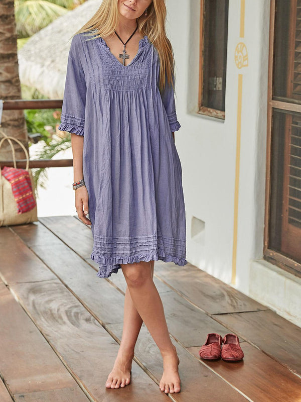 Half Sleeve Cotton-Blend V Neck Dresses