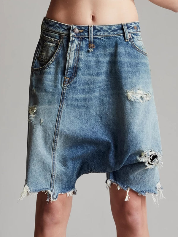 Women Denim Short Solid Pants