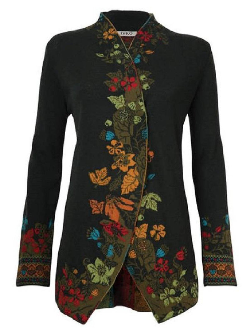 【BIG SALE!】Loracmoon Winter Outerwear Embroidery Floral Black Wine Red Long Sleeve Jacket Vintage Casual Plus Size