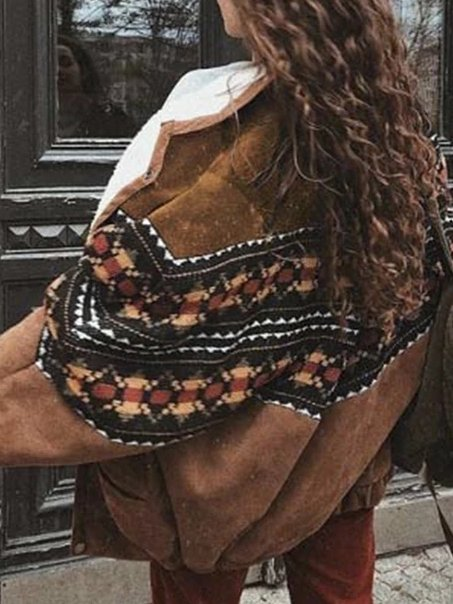 Brown Geometric Vintage Outerwear