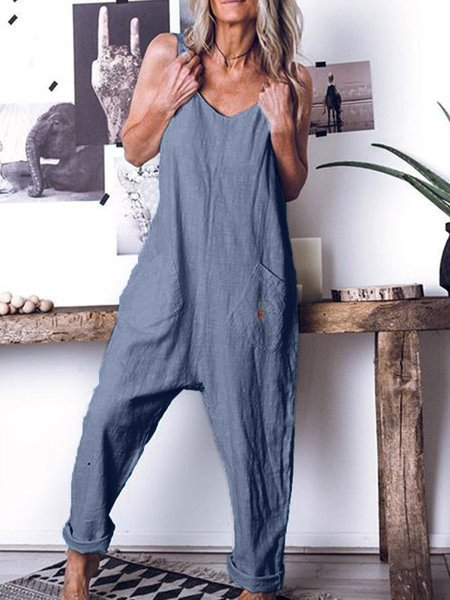 Women Sleeveless Casual Romper Jumpsuit