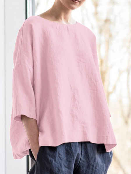 Solid Round Neck Casual Blouse Shirt