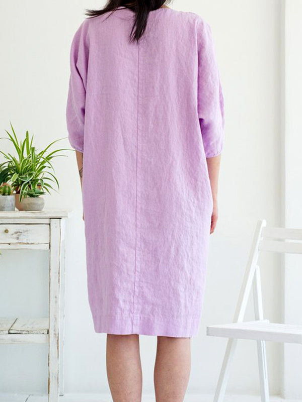 Cotton-Blend 3/4 Sleeve Dresses
