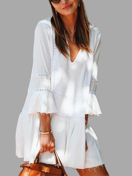 White Crew Neck Beach Casual Dress