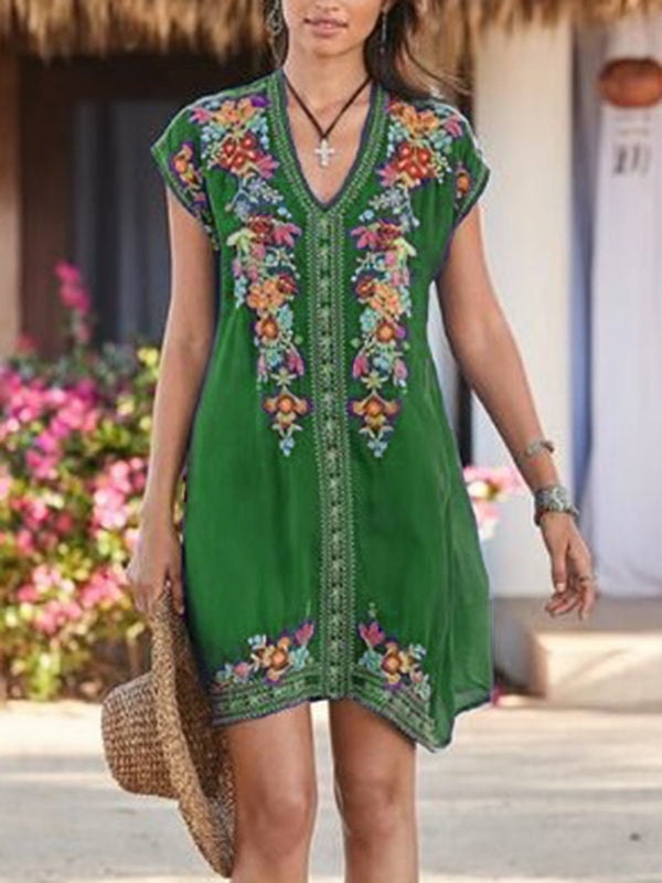 Midi Dresses V Neck Short Sleeve Embroidered Shift Blue Vintage Boho Holiday Beach Casual