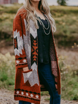Brown Color-Block Boho Geometric Knitted Outerwear