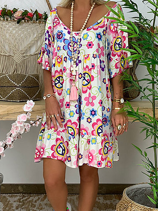 Half Sleeve Floral V Neck Dresses