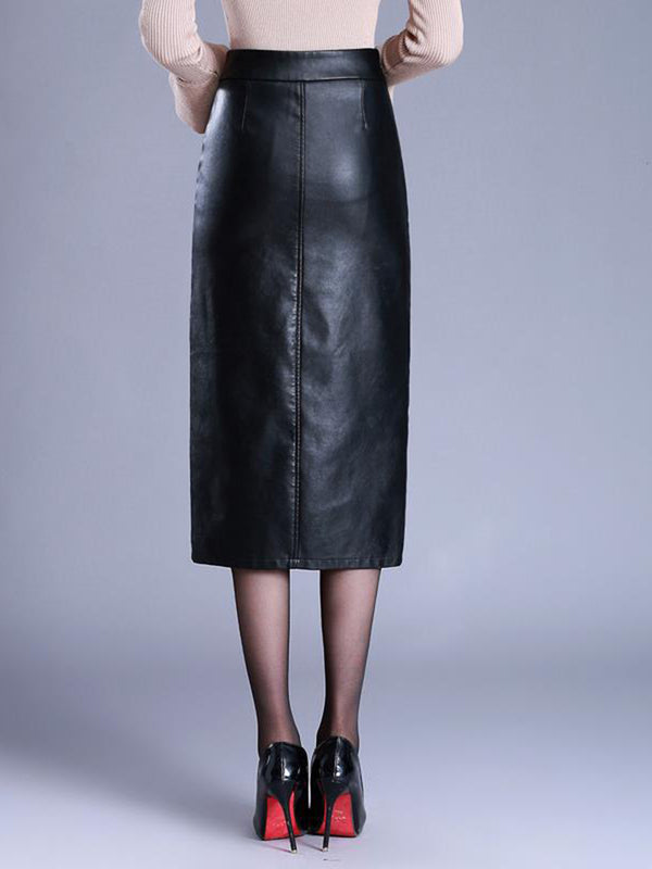 Black Solid Work Skirts