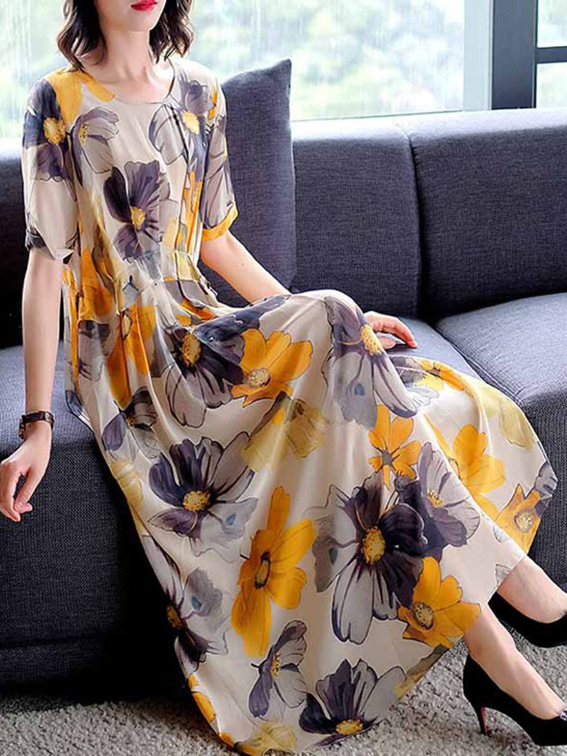 Yellow Crew Neck A-Line Daily Floral Printed Maxi Holiday Dress