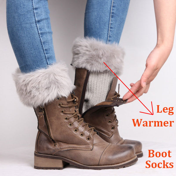 SOCKS ONLY  Womens Winter Warm Crochet Knit Fur Trim Leg Warmers Cuffs Toppers Boot Socks