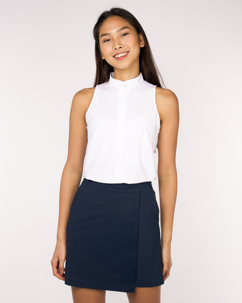 Performance Sleeveless Mandarin Collar White