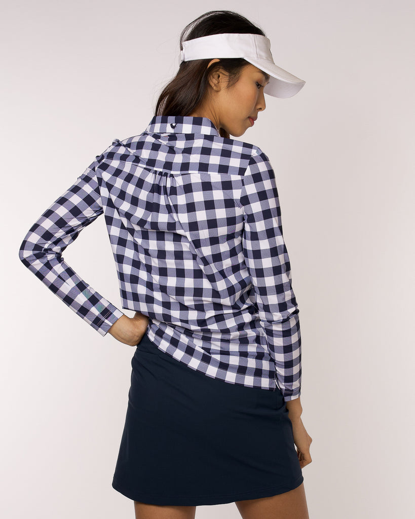 Performance Long Sleeve Polo Gingham Print