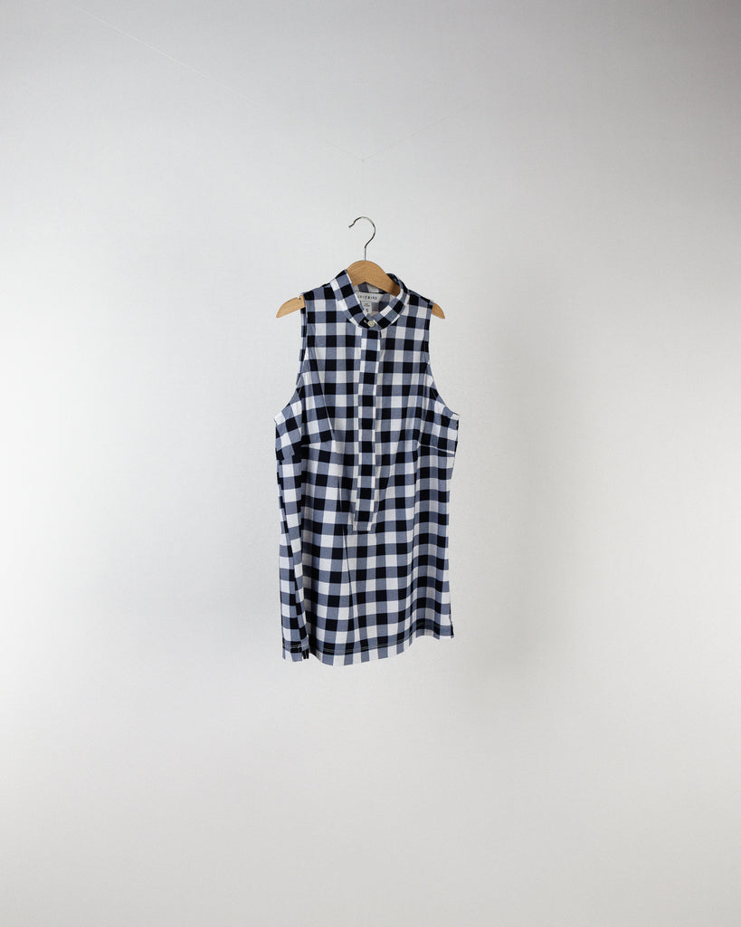 Performance Sleeveless Mandarin Collar Gingham Print