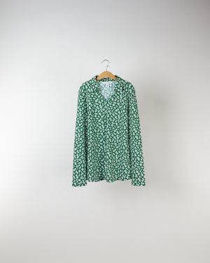 Performance Long Sleeve Polo Green Floral Print