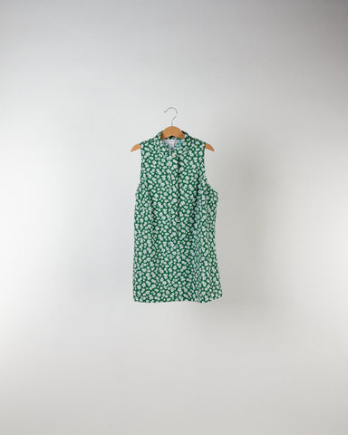 Performance Sleeveless Mandarin Collar Floral Print