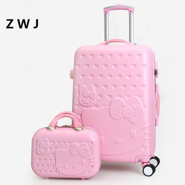 ... 2PCS SET Lovely 20 24 28 inch with 14inch Cosmetic bag hello Kitty  luggage girl d5a431ca98567