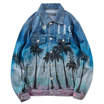 Yashinoki Men's Denim Bomber Jacket