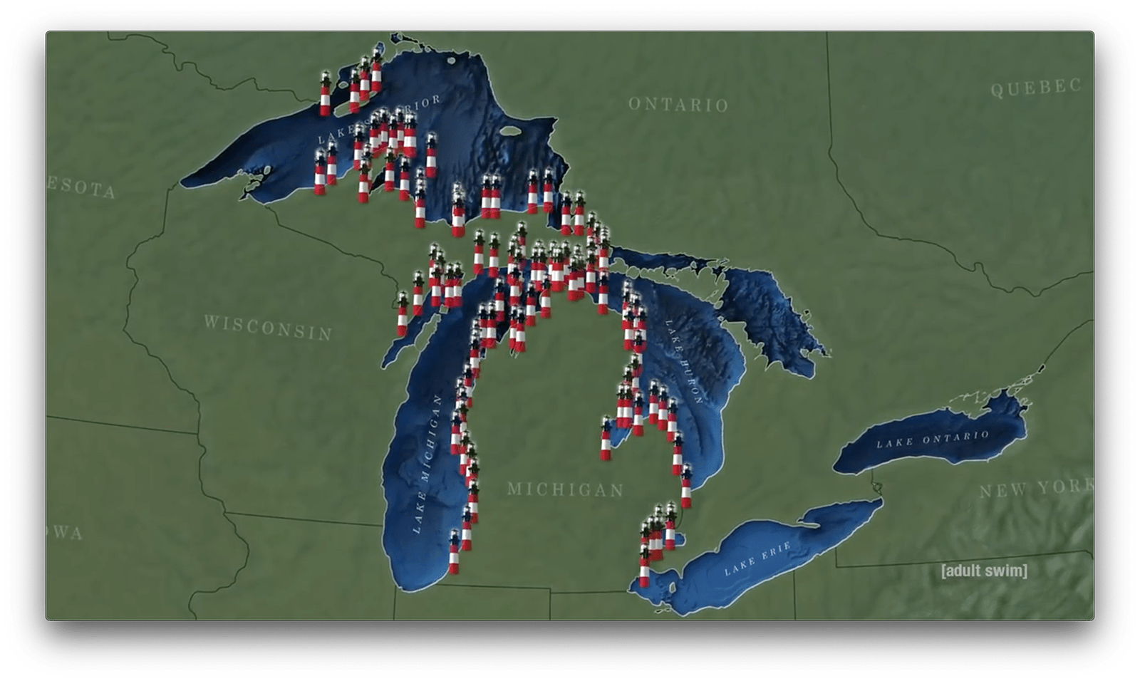 Lighthouse map of Michigan