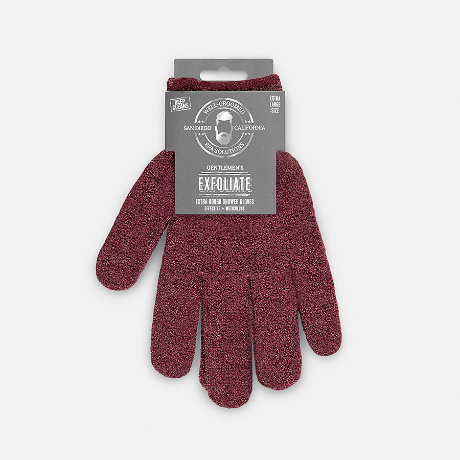 Well Groomed XL Extra Rough Shower Gloves - Maroon