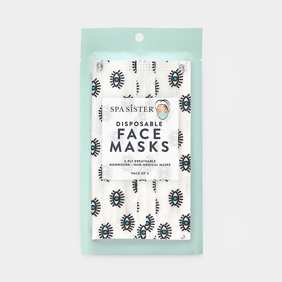 Blue Eyes Face Masks 5pk <br> 3ply Disposable, Non-Medical