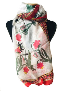 Red Iris Silk Scarf
