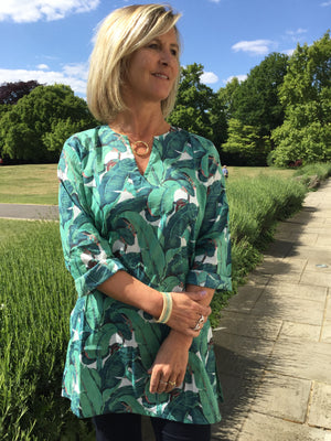 Ladies Kaftan - Green Leaf Print - Alessandria