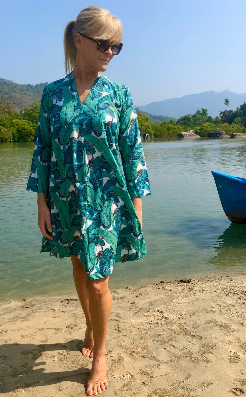 Summer Dress - Banana Leaf Print - Cotton