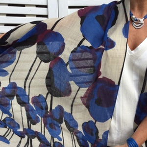 pure wool blue poppy shawl