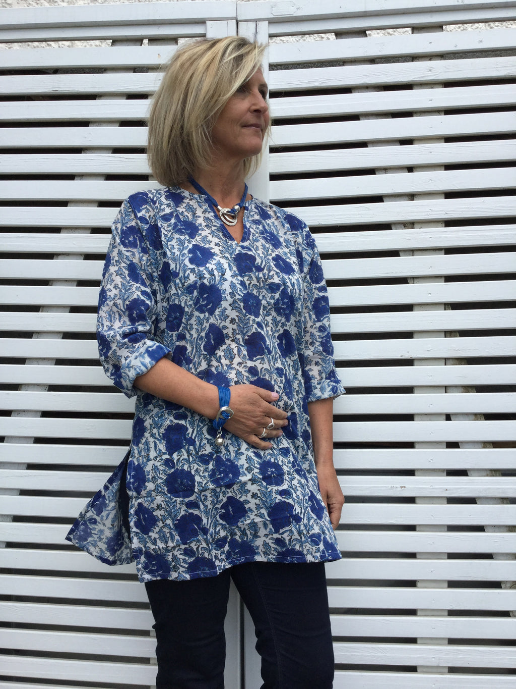 Blue Ladies Cotton Kaftan - Borgio Verezzi