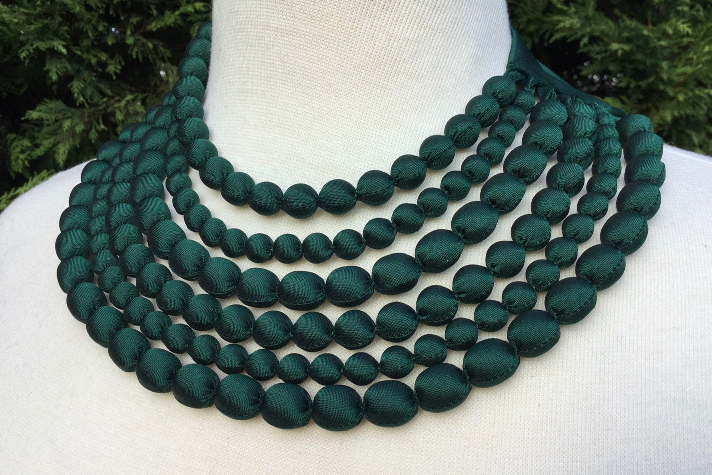 silk beaded necklace handmade