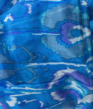 Corsican blue large silk scarf