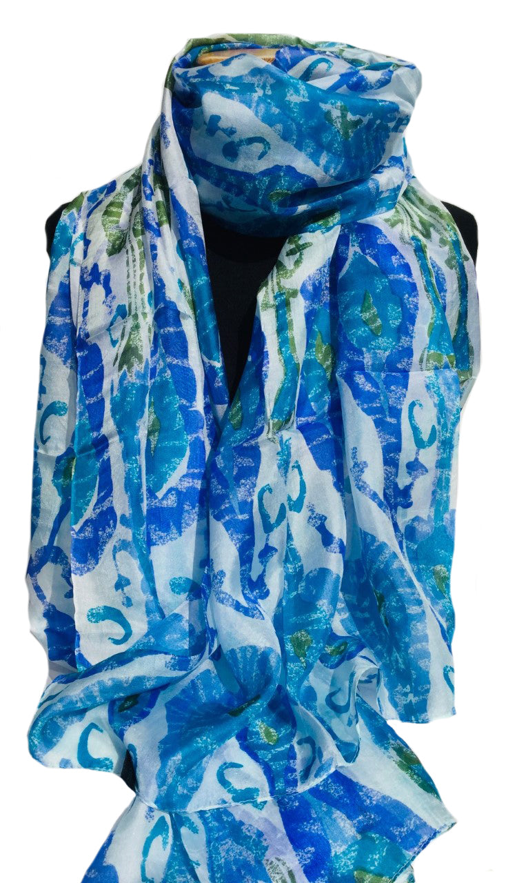 Costa Rican Blue Large Silk Scarf