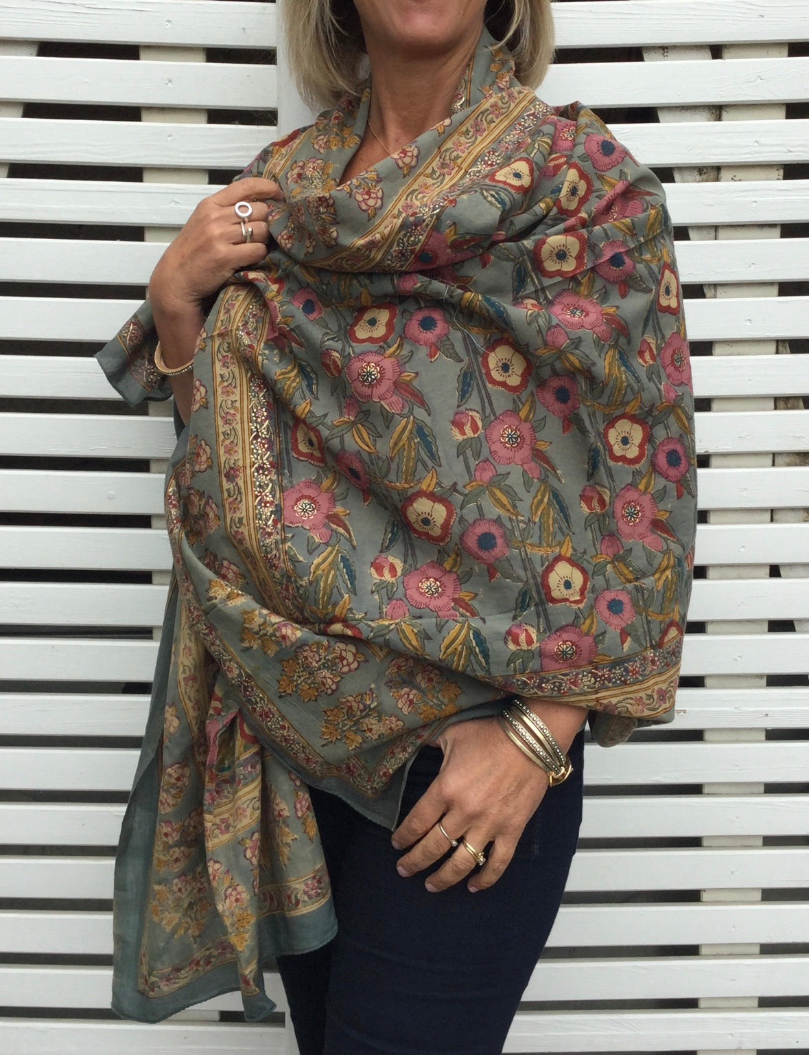 grey dianthus hand block printed cotton shawl