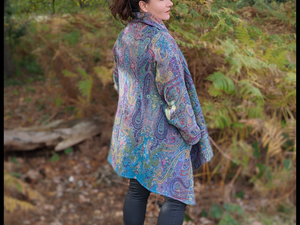 Freefall Jacquard Woven A-Line Coat - Peacock