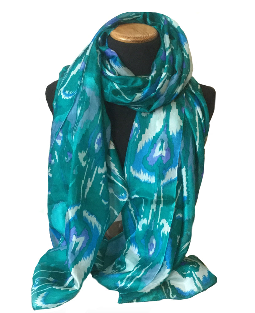 Goan sea green large silk scarf