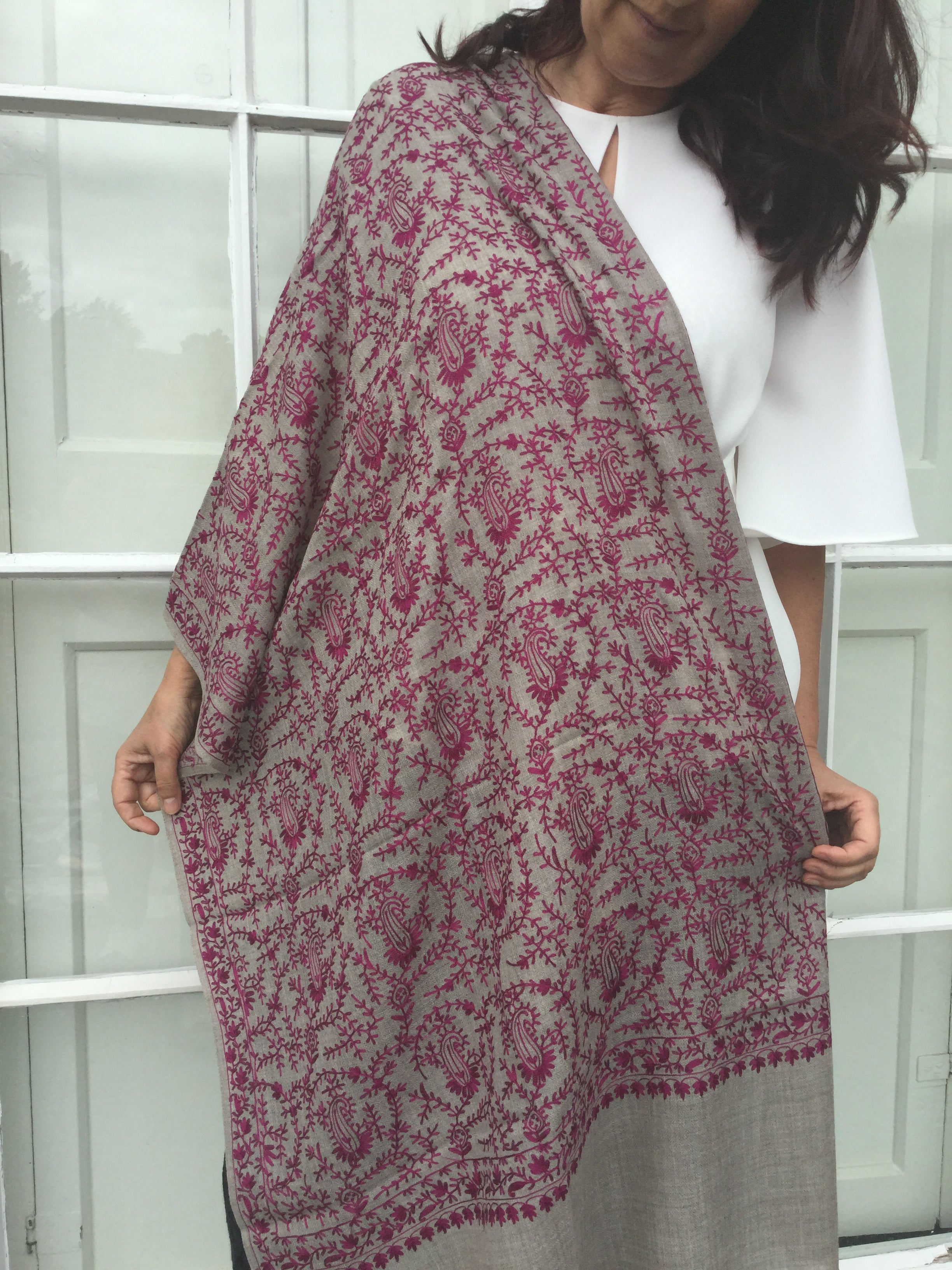 embroidered silk shawl cerise paisley