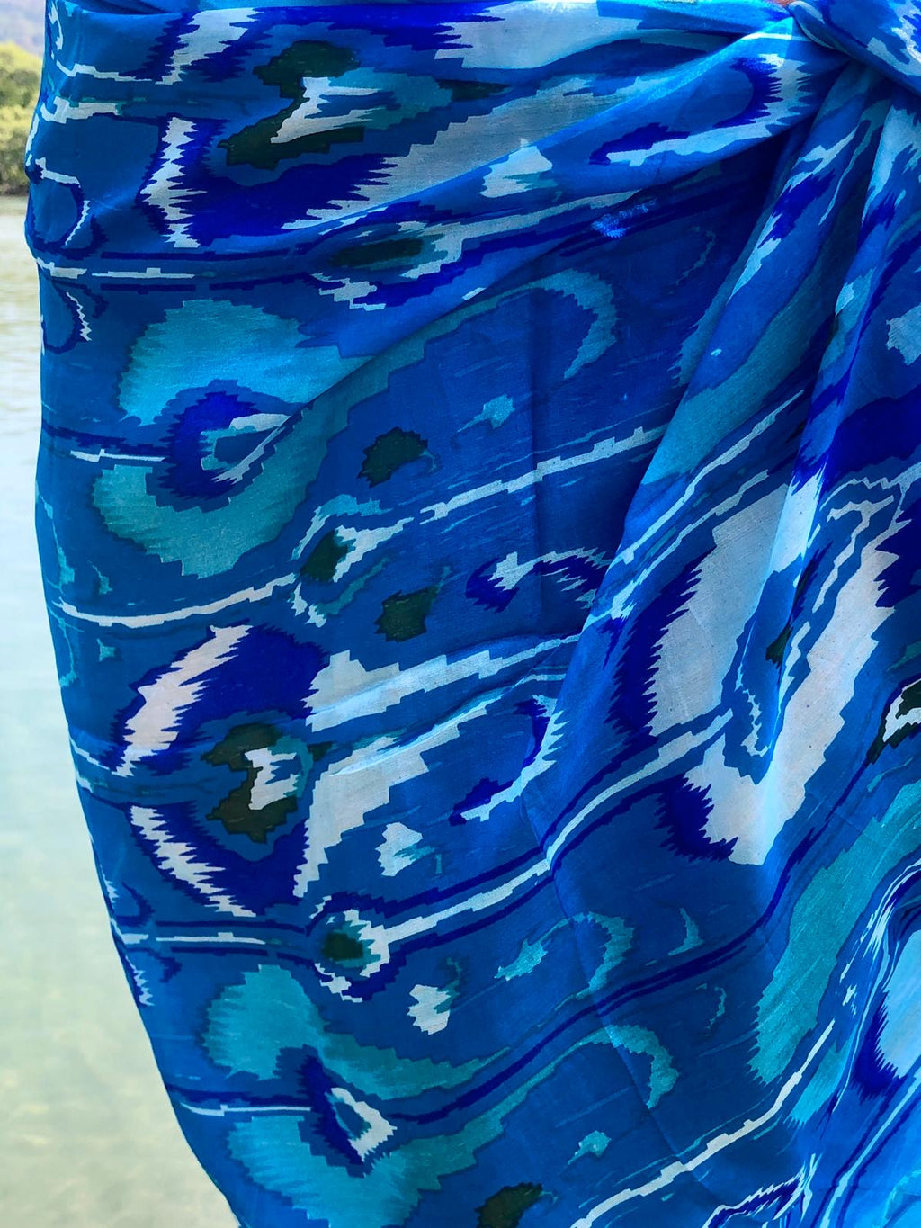 Ligurian Blue large silk scarf