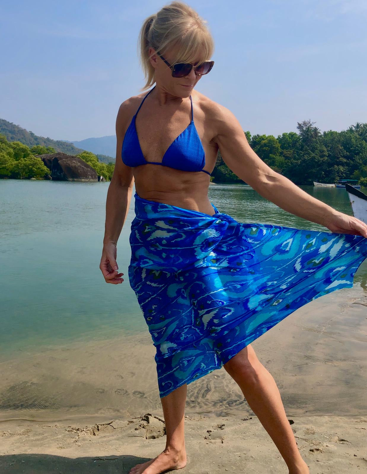 Ligurian blue large silk scarf worn as skirt