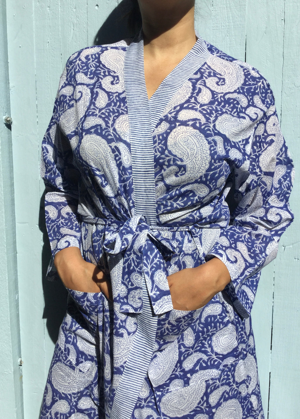 blue paisley cotton robe