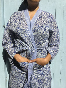 peacock blue cotton robe
