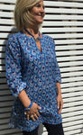 Blue cotton ladies kaftan - Savona